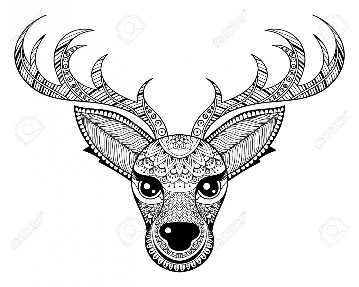 Zentangle Vector Reindeer For Adult Anti Stress Coloring Pages ..