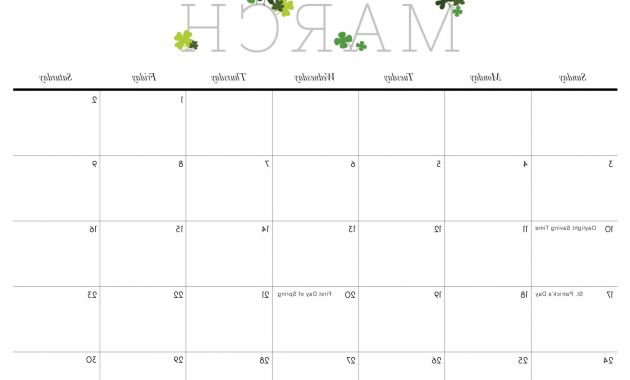2017 Calendar Printable 9ddf Cute March 2019 Calendar Template