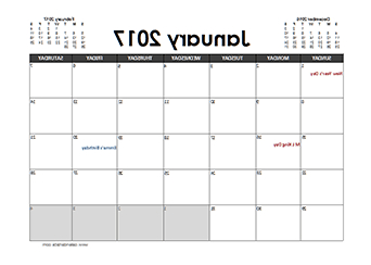 2017 Monthly Calendar with Holidays Zwd9 2017 Excel Calendar Planner Å¡tampa
