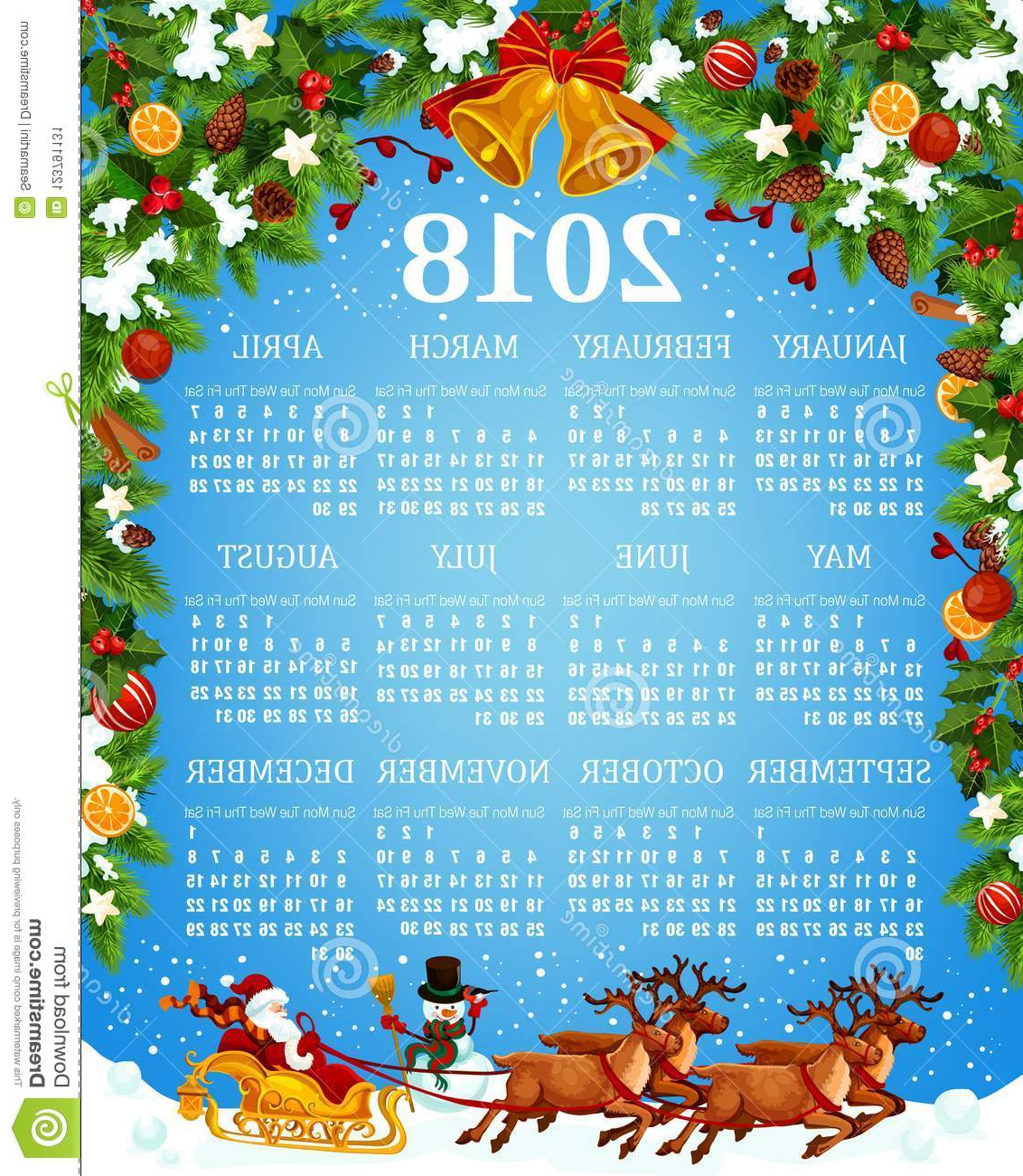 2018 Yearly Calendar Template D0dg Calendar Template with Xmas and New Year Symbols Stock