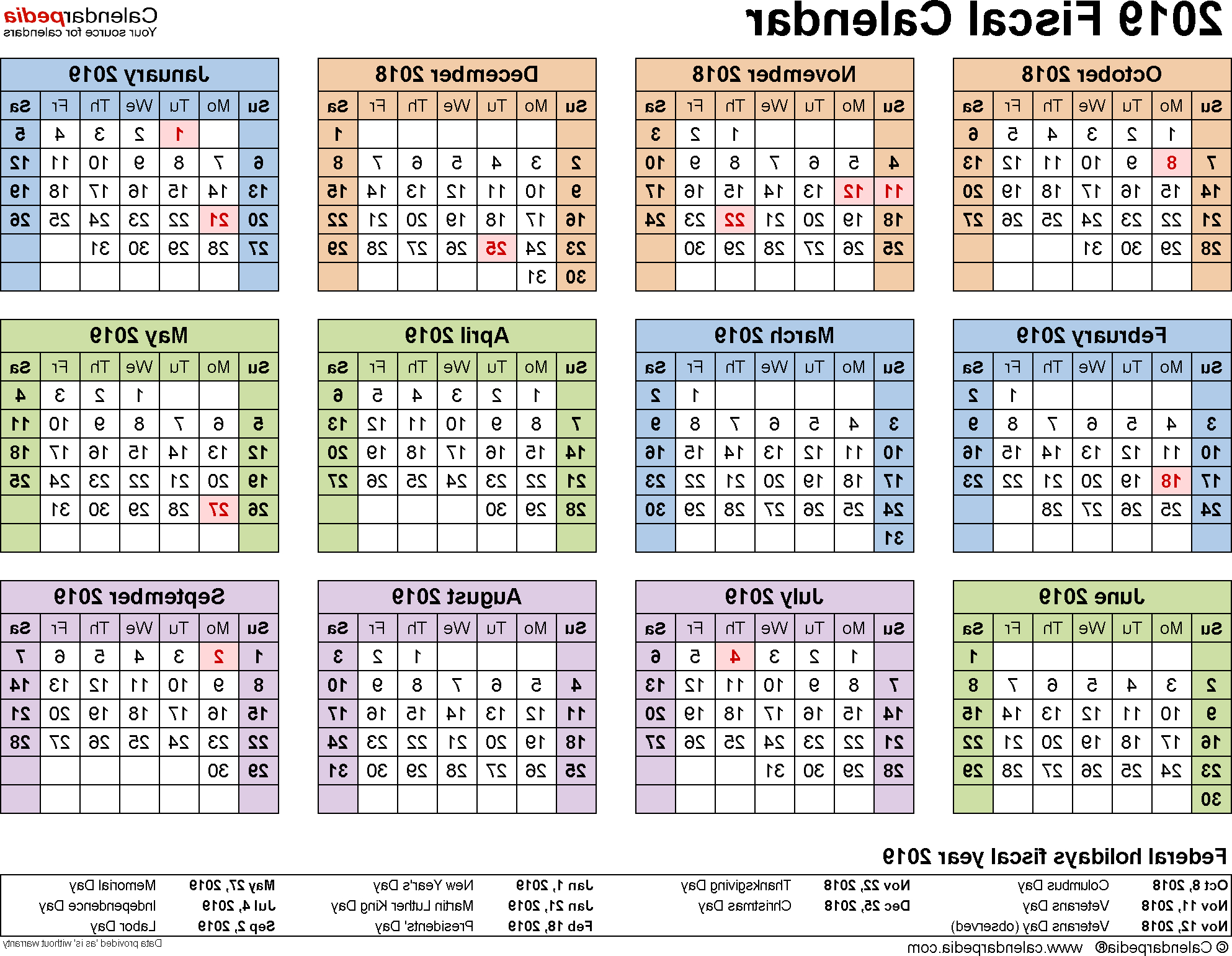 Federal Government Fiscal Year 2020 Calendar 0gdr Fiscal Calendars 2019 Free Printable Word Templates