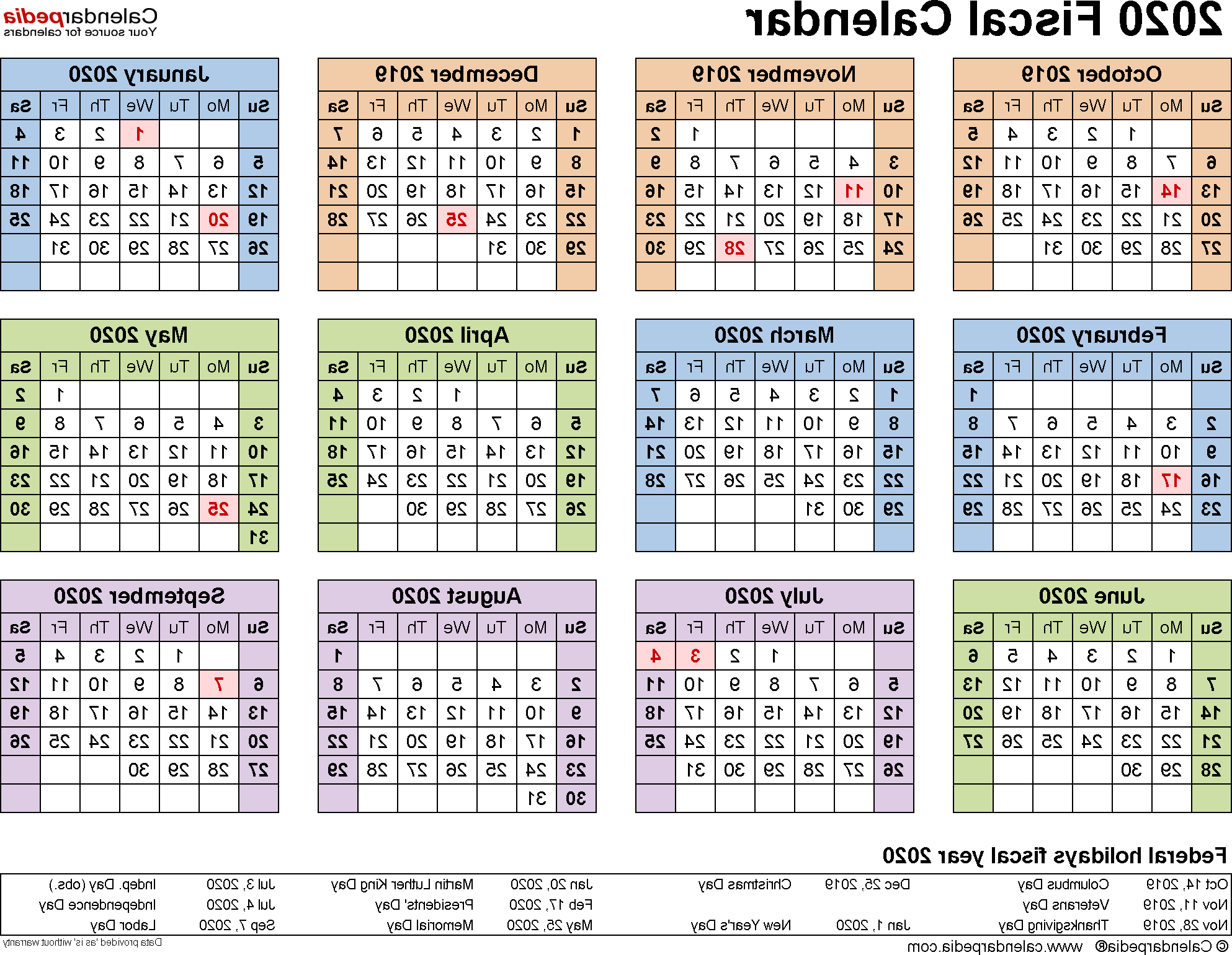 Federal Government Fiscal Year 2020 Calendar 87dx Fiscal Calendars 2020 Free Printable Pdf Templates