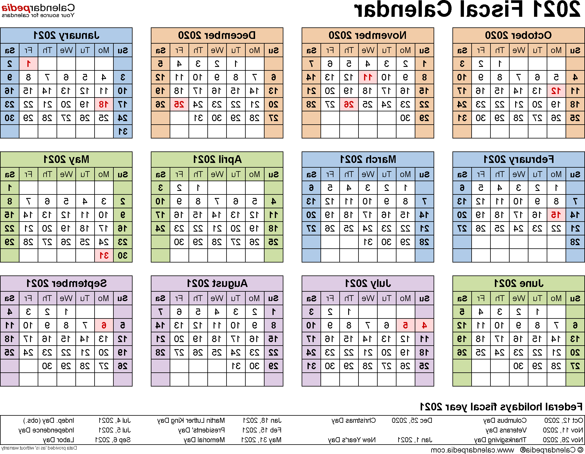 Federal Government Fiscal Year 2020 Calendar O2d5 Fiscal Calendars 2021 Free Printable Pdf Templates