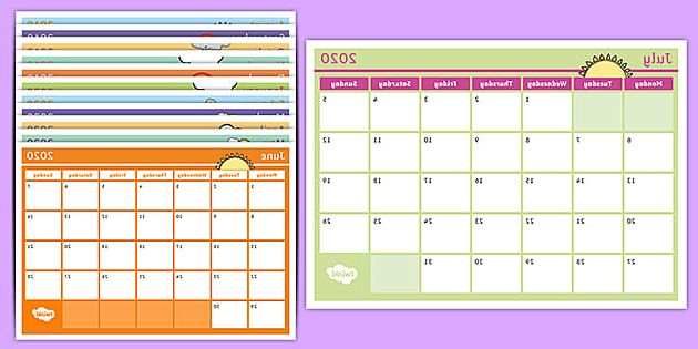 Fillable Monthly Calendar 3id6 Academic Year Monthly Calendar 2019 2020 Planning Template