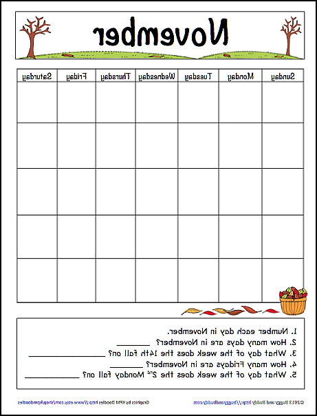 November Calendar Printable Q0d4 November Learning Calendar Template for Kids Free Printable