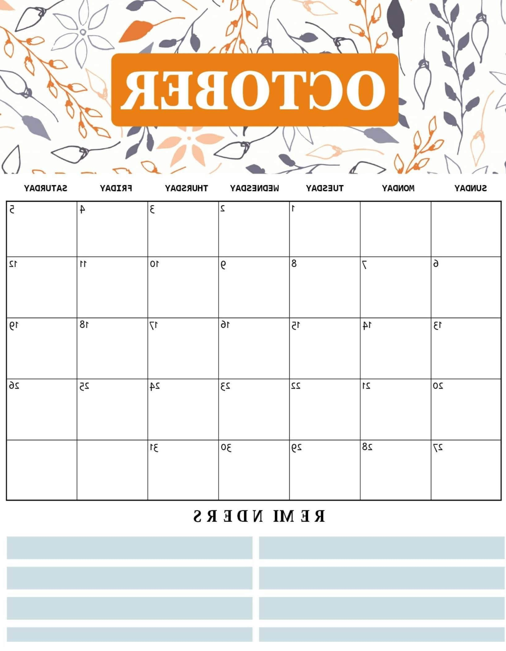 October Calendar Printable Qwdq Cute October 2019 Calendar Template
