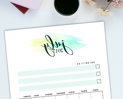 Printable 2017 Monthly Calendar Wddj Free July 2017 Calendar Set 5 Gorgeous Designs to Print