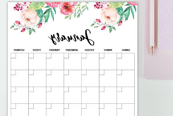 Printable 2018 Calendar by Month E6d5 Free Monthly Calendar 2019 and Life Planner In Florals