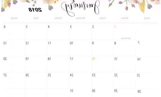 Printable Calendar for 2018 Dwdk January 2018 Floral Calendar Printable