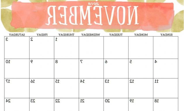 Printable Calendar for 2018 Tldn Calendar November 2018 Printable Template