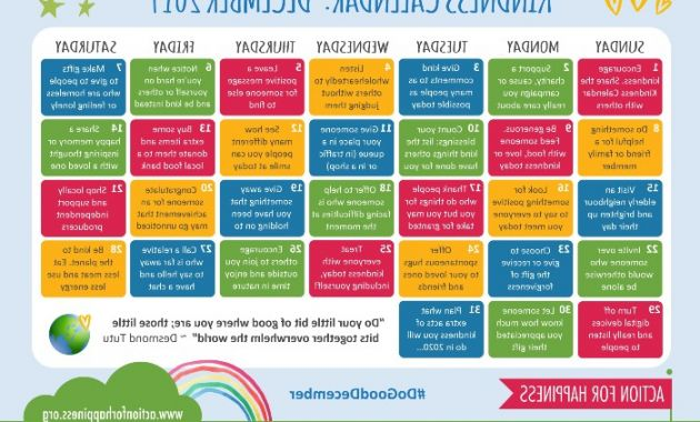 Printable December 2017 Calendar Q5df Action for Happiness