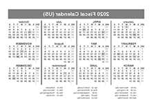 Printable Federal Government Fiscal Year 2020 Calendar 3id6 Printable 2020 Fiscal Year Calendar Template Calendarlabs