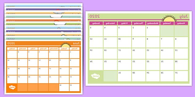 Printable School Calendar Qwdq Academic Year Monthly Calendar 2019 2020 Planning Template