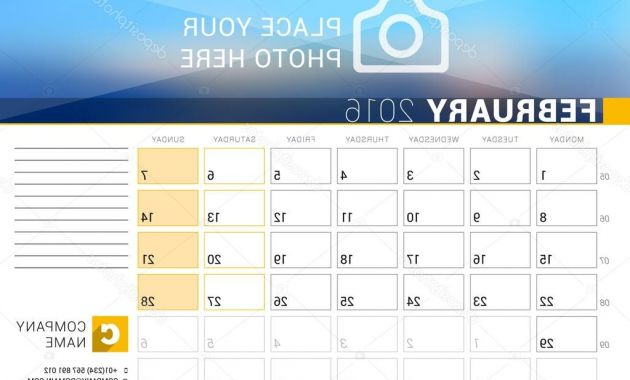 Weekly Number Calendar 2016 87dx Desk Calendar for 2016 Year February Vector Design Print