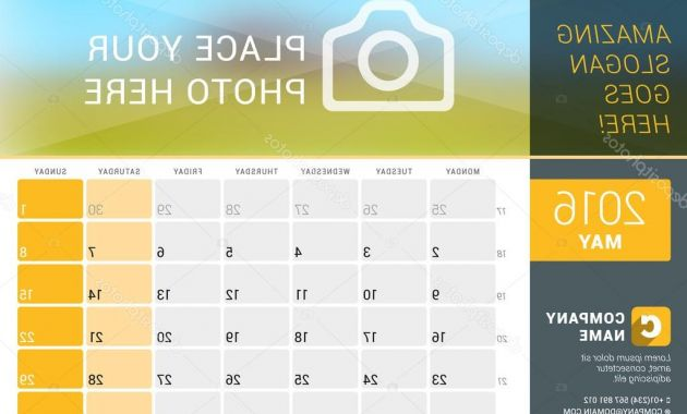 Weekly Number Calendar 2016 E9dx May 2016 Desk Calendar for 2016 Year Vector Design Print