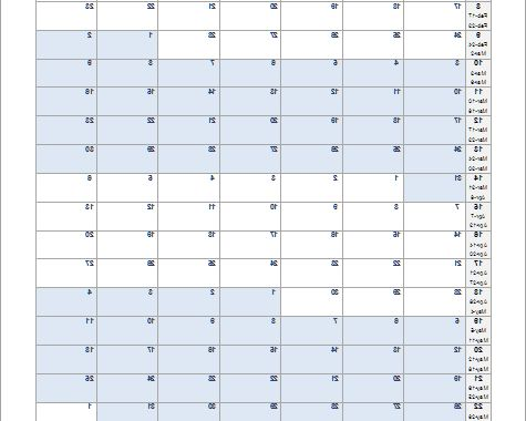 Weekly Number Calendar 2016 Gdd0 Continuous Monthly Calendar for Excel