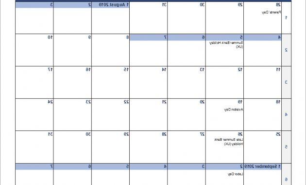 Weekly Number Calendar 2016 Zwdg Continuous Monthly Calendar for Excel