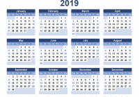 13 Calendar Templates and Images – Next Year Calendar 2019