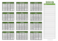 17 Yearly Calendar With Blank Notes – Free Printable Templates – 2019 Year Calendar Free Printable
