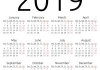 2019 Calendar By Year With To View Printable Yearly