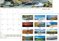 2019 Calendar Landscape Year At A Glance In Color With Panoramic Monthly Desk Pad DeGroot Technology
