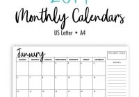 2019 Calendar Year At A Glance With Printable Monthly Calendars Landscape US Letter A4