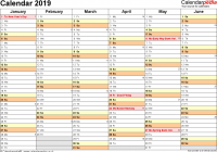 2019 Calendar Year At A Glance With UK 16 Free Printable PDF Templates