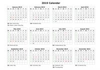 2019 Calendar Year To A Page With Download Blank US Holidays 12 Months On One