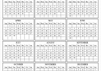 2019 Calendar Year To A Page With Yearly Template Printable One Print Out