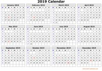 2019 Full Year Calendar Excel With Get Free One Page Printable October 2018