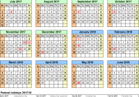 2019 Full Year Calendar Template Smartsheet With Split 2017 18 July To June Excel Templates