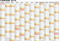 2019 Printable Year Calendar With Holidays Free Yearly Template SA