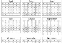 2019 Whole Year Calendar With Annual Portrait Printable 2017 2018