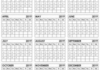 2019 Whole Year Calendar With Yearly 12 Month Printable