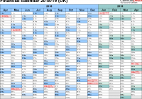 2019 Year Calendar Template Excel With Financial Calendars 2018 19 UK In Microsoft Format