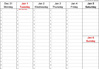 2019 Year Calendar With Weeks Weekly For Excel 12 Free Printable Templates