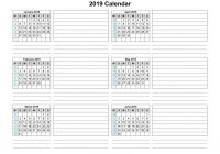 2019 Year To Page Calendar With Template Six Months Per