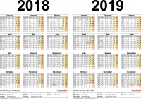 2019 Year To Page Calendar With Two Calendars For 2018 UK Word