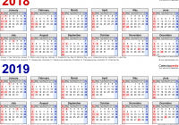 2019 Year View Calendar With 2018 Free Printable Two PDF Calendars