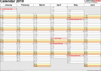 A3 Year Calendar 2019 With UK 16 Free Printable PDF Templates
