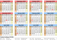 Academic Year Calendar 2019 With School Calendars 2020 As Free Printable Word Templates