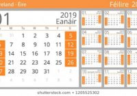 April Stock Illustrations, Images  – Calendar For Year 2019 Ireland