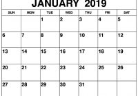 Calendar 2019 Entire Year With Blank January Printable