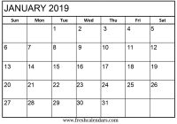 Calendar 2019 Entire Year With Blank January Printable Templates