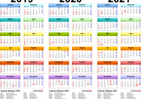 Calendar For Year 2019 Australia With 2020 2021 4 Three Printable PDF Calendars
