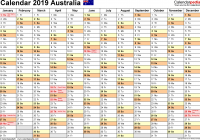 Calendar For Year 2019 Australia With Free Printable PDF Templates