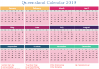 Calendar For Year 2019 Australia With Free QLD Template PDF Excel Word Templates Public