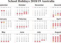 Calendar For Year 2019 Australia With Free School Holidays Templates December