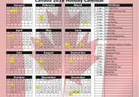Calendar For Year 2019 Canada With 2018 Holiday