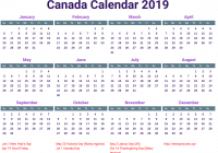 Calendar For Year 2019 Canada With Printable Yearly Blank Holidays Word